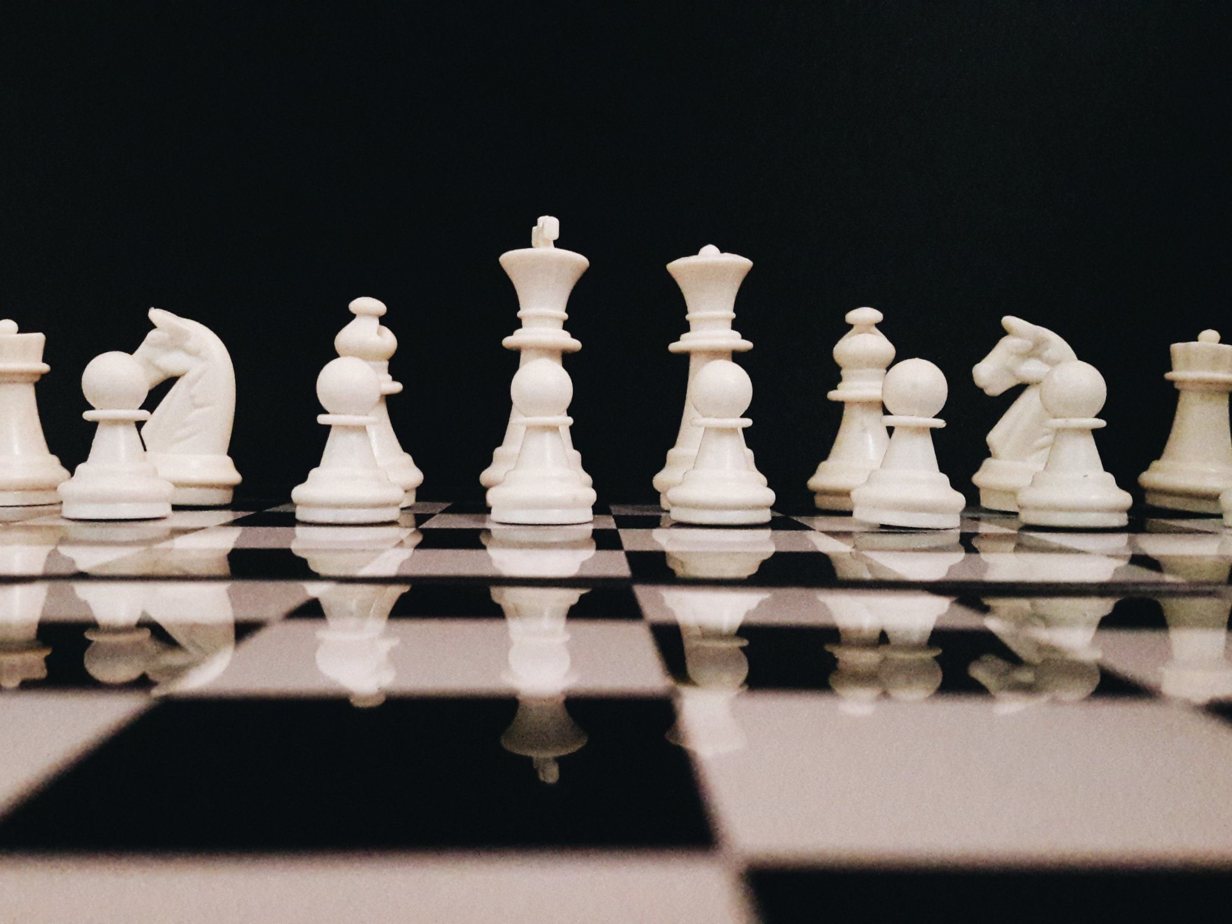 White Chess Pieces on a board